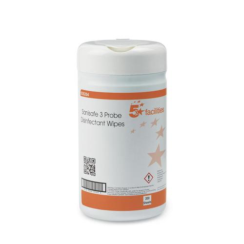 5 Star Facilities Probe Disinfectant Wipes Anti-bac PHMB-free BPR Low-residue 130x130mm [200 Wipes]