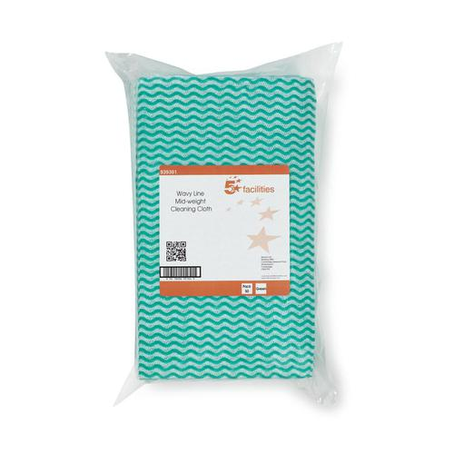 5 Star Facilities Wave Line Mid-weight Cleaning Cloth 40gsm W500xL300mm Green [Pack 50]