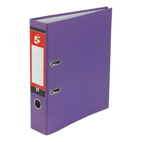 5 Star Office Lever Arch File 70mm A4 Purple [Pack 10]