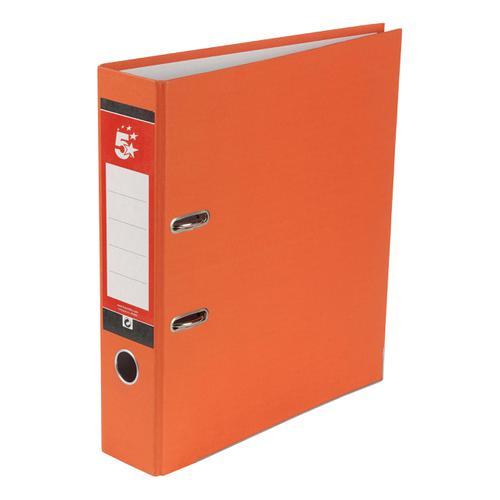 5 Star Office Lever Arch File 70mm A4 Orange [Pack 10]