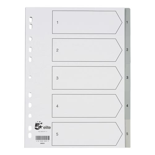 5 Star Elite Index 1-5 Polypropylene Multipunched Reinforced Holes Grey Tabs 120 Micron A4 White
