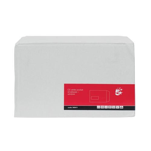 5 Star Office Envelopes PEFC Pocket Self Seal Window 90gsm C5 229x162mm White [Pack 500]