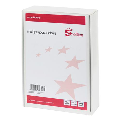 5 Star Office Multipurpose Labels Laser Copier Inkjet 14 per Sheet 99x38mm White [7000 Labels]
