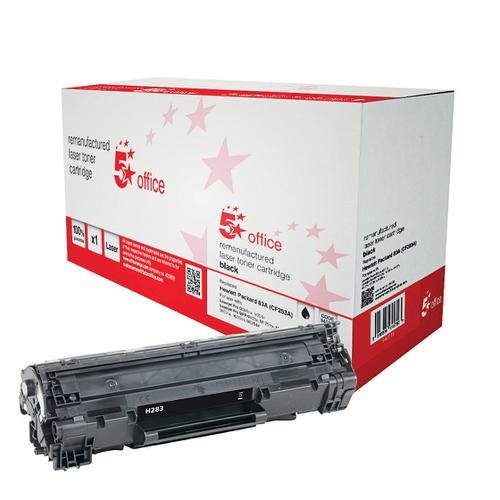 5 Star Office Remanufactured Laser Toner Cartridge Page Life 1500pp Black [HP 83A CF283A Alternative]