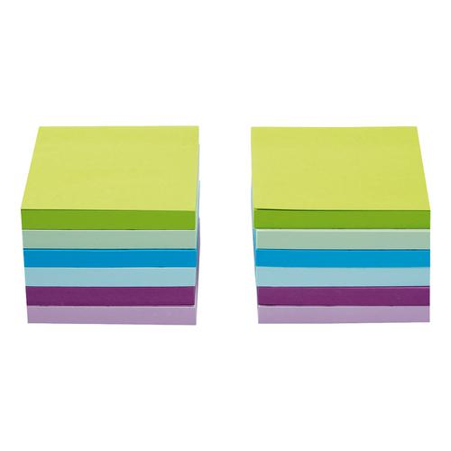 5 Star Office Re-Move Sticky Notes 76x76mm 6 Neon/Pastel Colours 100 Sheets per Pad [Pack of 12]
