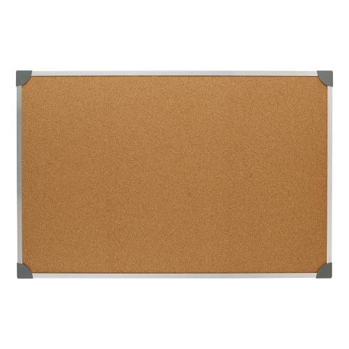 5 Star Office Cork Board with Wall Fixing Kit Aluminium Frame W900xH600mm
