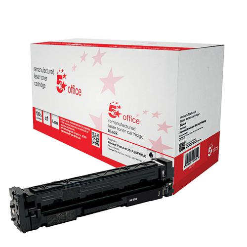 5 Star Office Remanufactured Laser Toner Cartridge Page Life 1500pp Black [HP 201A CF400A Alternative]