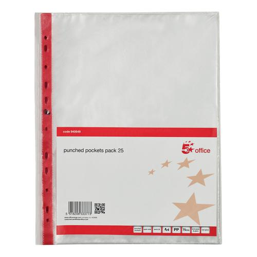 5 Star Office Punched Pocket Polyprop Reinforced Red Strip Top Opening 75 Mic A4 Clear [Pack 25]