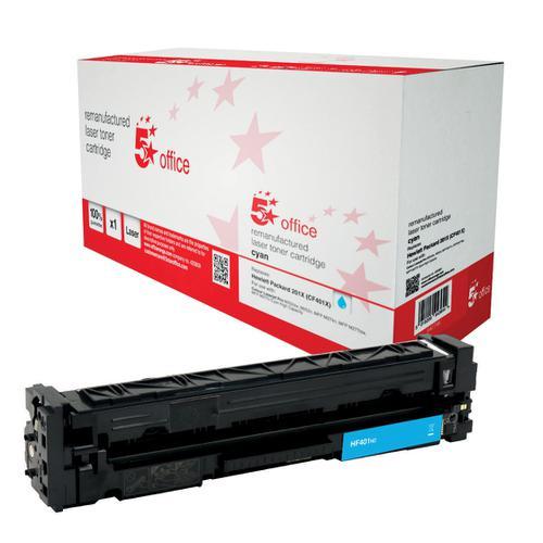 5 Star Office Remanufactured Laser Toner Cartridge Page Life 2300pp Cyan [HP 201X CF401X Alternative]
