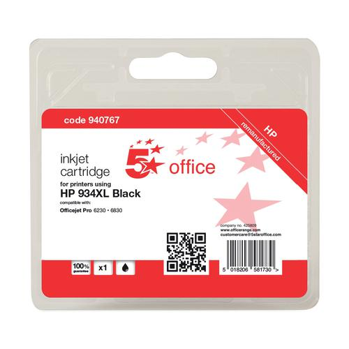 5 Star Office Reman Inkjet Cart HY Page Life 1000pp 25.5ml Black [HP No.934XL C2P23AE Alternative]