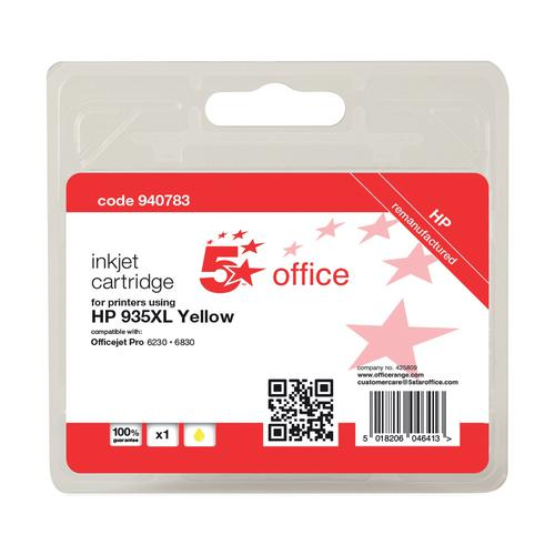 5 Star Office Reman Inkjet Cartridge HY Page Life 825pp 9.5ml Yellow [HP No.935XL C2P26AE Alternative]