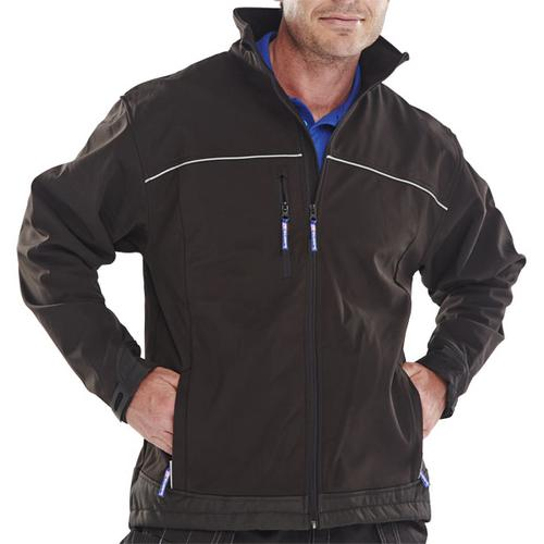 Click Workwear Soft Shell Jacket Water Resistant Windproof Small Black Ref SSJBLS *Approx 3 Day Leadtime*