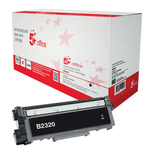5 Star Office Remanufactured LaserTonerCart HighYield Page Life 2600pp Black [Brother TN2320 Alternative]