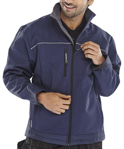 Click Workwear Soft Shell Jacket Water Resistant Windproof Small Navy Ref SSJNS *Approx 3 Day Leadtime*