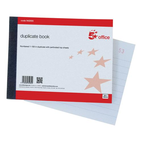 5 Star Office Duplicate Book with Carbon Ruled Indexed and Perforated 100 Sets 105x130mm