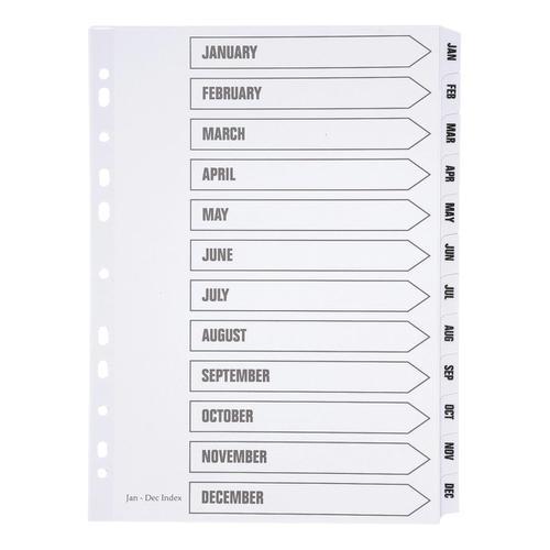 5 Star Office Index Jan-Dec Multipunched Mylar-reinforced Strip Tabs 150gsm A4 White