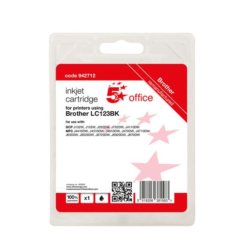 5 Star Office Remanufactured Inkjet Cartridge Page Life Black 600pp [Brother LC123BK Alternative]