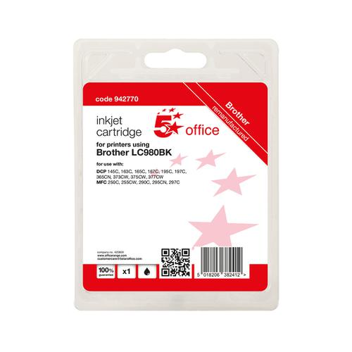 5 Star Office Remanufactured Inkjet Cartridge Page Life Black 300pp [Brother LC980BK Alternative]