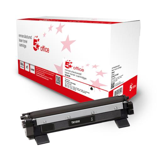 5 Star Office Remanufactured Toner Cartridge Page Life Black 1000pp [Brother TN1050 Alternative]