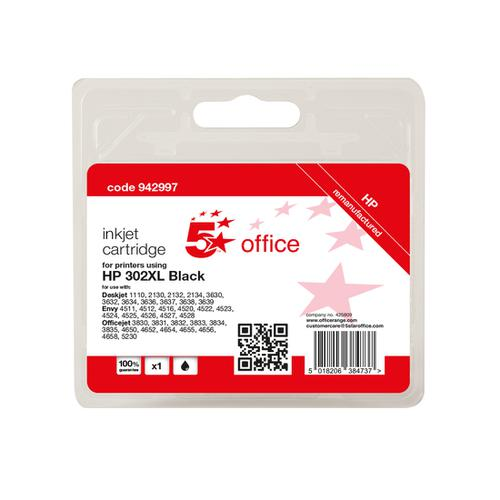 5 Star Office Remanufactured Inkjet Cartridge Page Life Black 480pp [HP No.302XL F6U68AE Alternative]