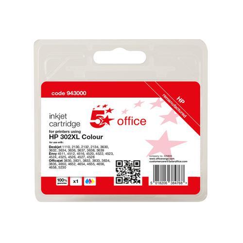 5 Star Office Reman Inkjet Cartridge Page Life Tri-Colour 330pp [HP No.302XL F6U67AE Alternative]