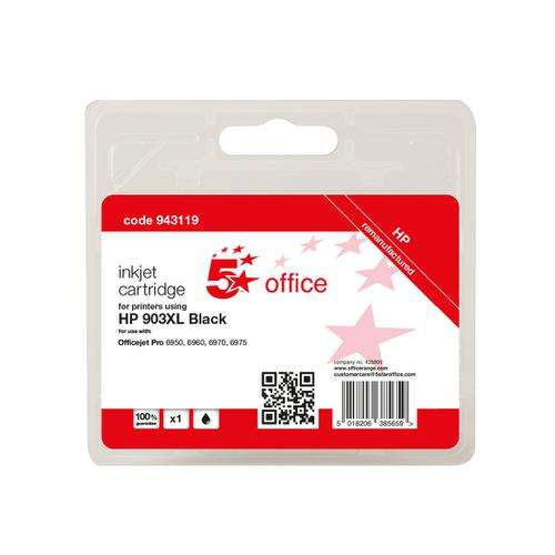 5 Star Office Remanufactured Inkjet Cartridge Page Life Black 825pp [HP No.903XL T6M15AE Alternative]