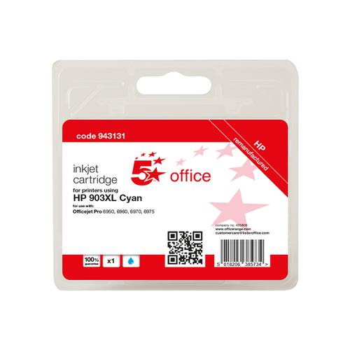 5 Star Office Remanufactured Inkjet Cartridge Page Life Cyan 825pp [HP No.903XL T6M03AE Alternative]