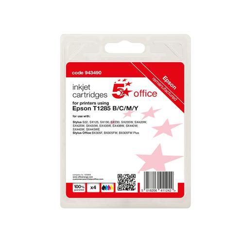 5 Star Office Remanufactured Inkjet Cartridge 16.4ml C/M/Y/K [Epson T1285 Alternative] [Pack 4]
