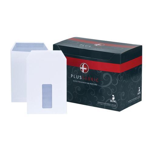 Plus Fabric Envelopes PEFC Pocket Self Seal Window 120gsm C5 229x162mm White Ref C26870 [Pack 500]