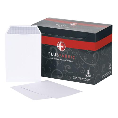 Plus Fabric Envelopes PEFC Pocket Self Seal 120gsm C5 229x162mm White Ref D23770 [Pack 250]
