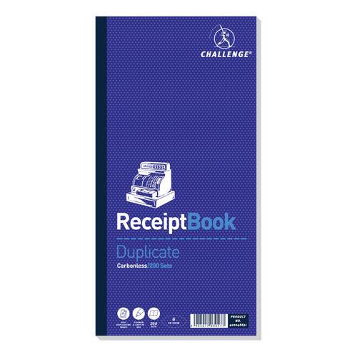 Challenge Duplicate Book Carbon Receipt Book 4 Sets per Page 200 Sets 241x92mm Ref 100080450 [Pack 10]