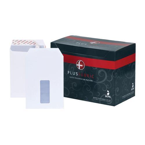 Plus Fabric Envelopes PEFC Pocket Peel & Seal Window 120gsm C5 229x162mm White Ref E24970 [Pack 500]