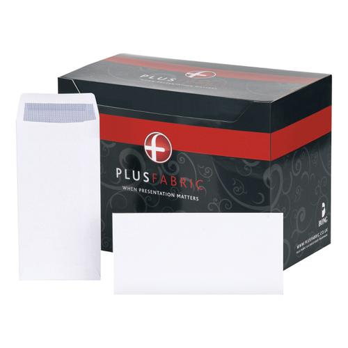 Plus Fabric Envelopes PEFC Pocket Peel and Seal 120gsm DL 220x110mm White Ref E25771 [Pack 500]