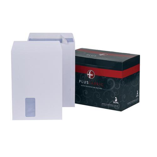Plus Fabric Envelopes PEFC Pocket Peel & Seal Hrzntal Wdw 120gsm C4 324x229mm White Ref F28749 [Pack 250]
