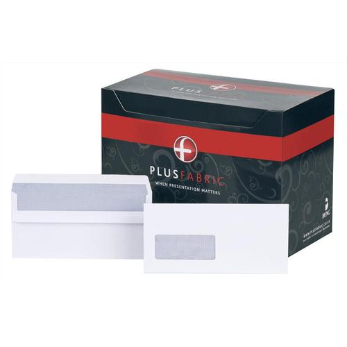 Plus Fabric Envelopes PEFC Wallet Self Seal Window 120gsm DL 220x110mm White Ref J22370 [Pack 500]