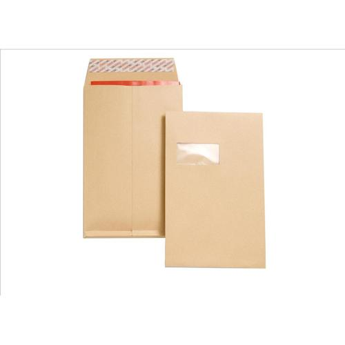 New Guardian Envelopes FSC Peel & Seal Window Gusset 130gsm C4 324x229x25mm Manilla Ref J27366 [Pack 100]