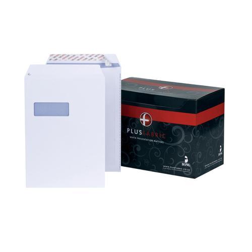 Plus Fabric Envelopes PEFC Pocket Peel & Seal Window 120gsm C4 324x229mm White Ref L23970 [Pack 250]