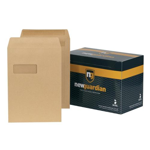 New Guardian Envelopes Pocket Self Seal Window 130gsm C4 324x229mm Manilla Ref M27503 [Pack 250]
