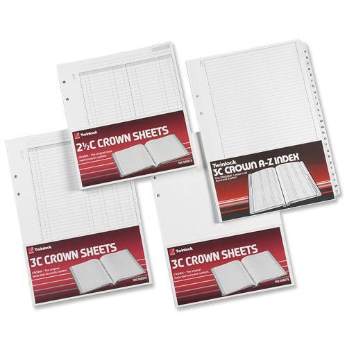 Twinlock 3C Crown Double Ledger Sheets 322x228mm Ref 75841 [Pack 100]