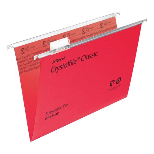 Rexel Crystalfile Classic Suspension File Manilla V-base Foolscap Red Ref 78141 [Pack 50]