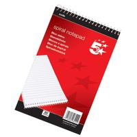 5 Star Office Shorthand Pad Wirebound 60gsm Ruled 200pp A5 Red
