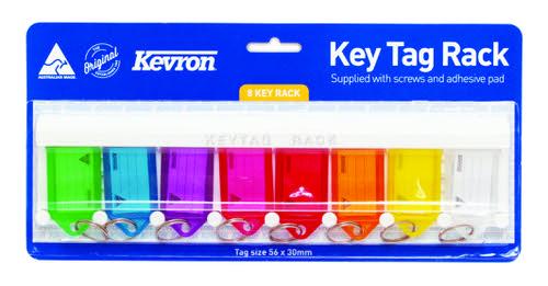 Kevron Key Tag Rack including eight 56x30mm Assorted Key Tags