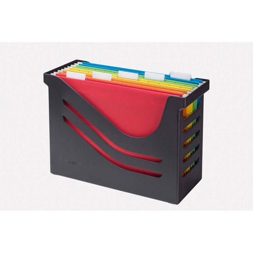 Jalema Silky Touch File Box (Black) with 5 A4 Suspension Files (Assorted)