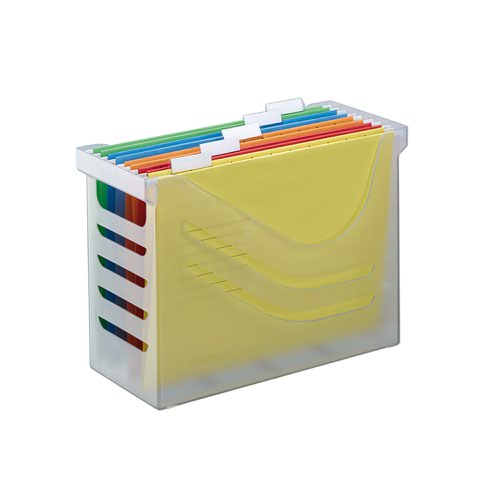 Jalema Silky Touch File Box (White) with 5 A4 Suspension Files (Assorted)