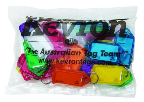 Kevron 74x38mm Assorted Colour Jumbo KeyTags Pack of 25