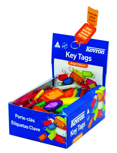 Kevron 56x30mm Assorted Colour KeyTags Pack of 100 in Display Box