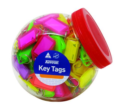Kevron 56x30mm Assorted Colour Key Tags Tub of 150