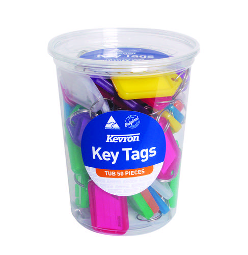 Kevron 56x30mm Assorted Colour Key Tags Pack of 50