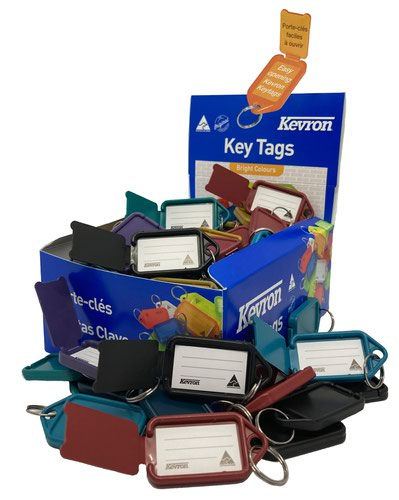 Kevron 56x30mm Recycled Key Tags Assorted Pack of 100 in Display Box