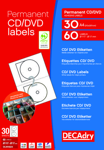Decadry CD DVD Labels 2 per sheet Pack of 30 sheets